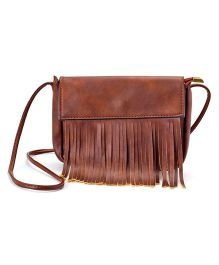 Little Hip Boutique Matte Finish Tassles Sling Bag - Chocolate Broun