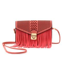 Little Hip Boutique Cutwork Tassles Sling Bag - Carrot Red
