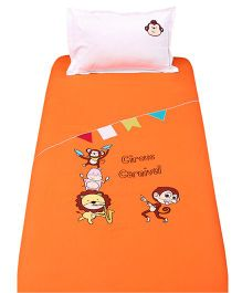 Bananaah Circus Carnival Print Single Bedsheet & Pillow Cover Set - Orange