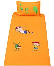 Bananaah Kids Print Single Bedsheet & Pillow Cover Set - Orange