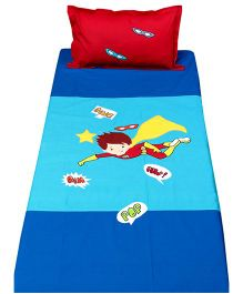 Bananaah Superhero Applique Single Bedsheet - Blue