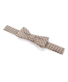 Princessories By Sachi Goenka Checkered Headband With Bow - Brown