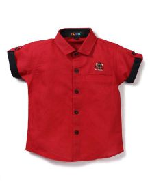 Robo Fry Half Sleeves Shirt Fashion Embroidery - Red