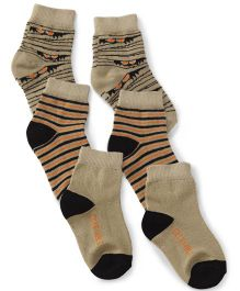 Cute Walk by Babyhug Monster Jam Socks Beige Black Orange - Set Of 3