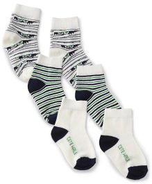 Cute Walk by Babyhug Monster Jam Socks Off White Navy Green - Set Of 3