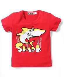 Poly Kids Shark Print T-Shirt - Red
