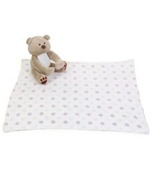 Piccolo Bambino Blanket With Teddy Bear - Beige White
