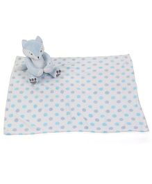 Piccolo Bambino Dotted Blanket With Fox Soft Toy - Blue