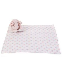 Piccolo Bambino Dotted Blanket With Elephant Soft Toy - Pink White
