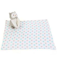 Piccolo Bambino Dotted Blanket With Owl Soft Toy - Beige Grey