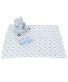 Piccolo Bambino Normal And Flannel Receiving Blankets With Fox Soft Toy - Blue