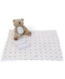 Piccolo Bambino Normal And Flannel Receiving Blankets With Teddy Bear - Beige White