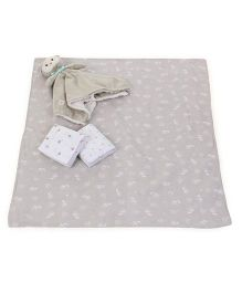 Piccolo Bambino Flannel Receiving Blankets White Grey Beige - Set of 4