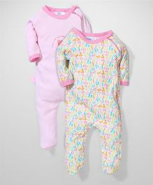 Honey Bunny Full Sleeves Footed Romper Sleepsuit Set of 2 - Pink White