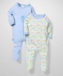 Honey Bunny Full Sleeves Footed Romper Sleepsuit Set of 2 - Blue White