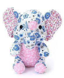 Abracadabra Fabric Elephant Stuffed Toy White Blue - 10 Inches