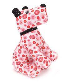 Abracadabra Fabric Puppy Stuffed Toy Red And White - 37 cm