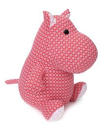 Abracadabra Fabric Hippo Stuffed Toy Red - 29 Cm