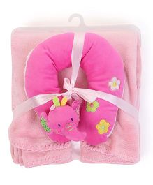 Abracadabra Neck Pillow With Blanket Elephant Design - Pink