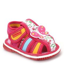 Cute Walk by Babyhug Sandals Butterfly Patch And Floral Print - Pink