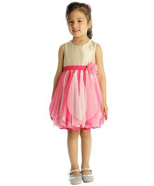 My Lil'Berry Sleeveless Waterfall Party Dress Floral Applique - Pink And Beige