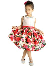 My Lil'Berry Sleeveless Embellished Neckline Floral Print Party Dress - Multicolor