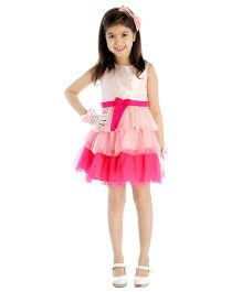 My Lil'Berry Sleeveless Frill Party Dress Bow Applique - Pink And White