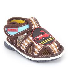 Cute Walk by Babyhug Sandals Car Patch And Checks Print - Coffee Brown