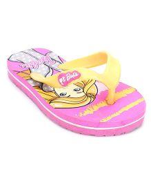 Barbie Printed Flip Flops - Pink Yellow