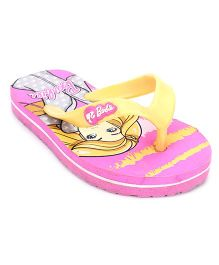 Barbie Printed Flip Flops - Pink Yellow