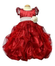 Simply Cute Satin Dress With Pearls - Red
