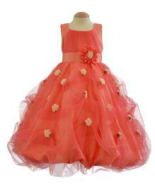 Simply Cute Handmade Flowers On Skirt Gown - Peach