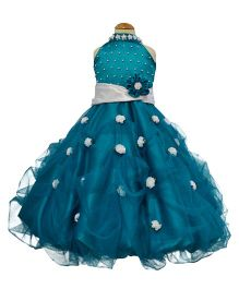 Simply Cute Flowers On Neck Band & On Skirt Gown - Turquoise Blue