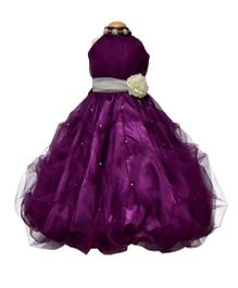 Simply Cute Pearl With Neck Band & Pearls On Skirt Gown - Plum Purple