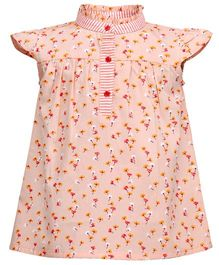 Budding Bees Floral A-Line Printed Dress - Peach