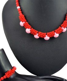Angel Glitter Love Resides In It 2 Pieces Jewellery Set - Red & Pink