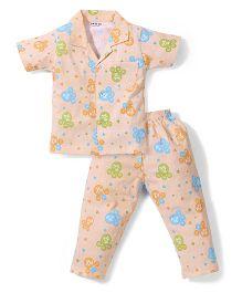 Doreme Half Sleeves Night Suit Bear Print - Peach