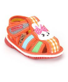 Cute Walk by Babyhug Sandals Bunny Patch And Floral Print - Orange
