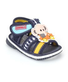 Cute Walk by Babyhug Sandals Elephant Patch And Checks Print - Navy Blue