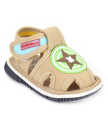 Cute Walk by Babyhug Sandals Star Patch - Light Brown
