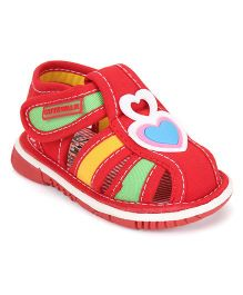 Cute Walk by Babyhug Sandals Heart Design - Red
