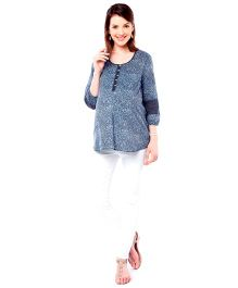 Nine Long Sleeves Maternity Nursing Blouse Floral Print - Navy