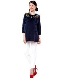 Nine Long Sleeves Maternity Blouse Floral Embroidery - Navy Blue
