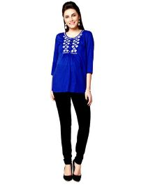 Nine Three Fourth Sleeves Maternity Blouse With Embroidery - Blue