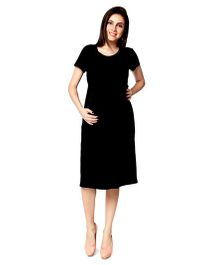 Nine Half Sleeves Maternity Basic Nursing Dress - Black