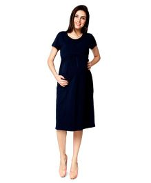 Nine Half Sleeves Maternity Basic Nursing Dress - Navy Blue