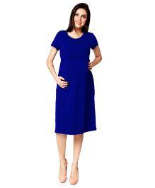Nine Half Sleeves Maternity Basic Nursing Dress - Royal Blue