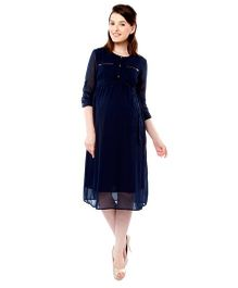 Nine Three Fourth Sleeves Maternity Formal Nursing Dress - Navy