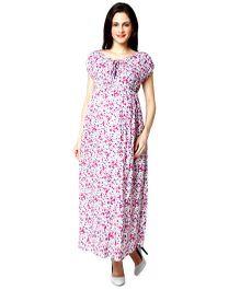 Nine Short Sleeves Printed Maternity Nursing Dress - Pink