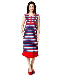 Nine Sleeveless Maternity Nursing Dress Striped - Multicolor